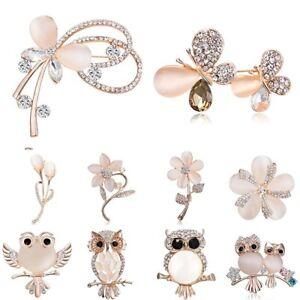 Fashion-Crystal-Rhinestone-Flowers-Butterfly-Brooch-Pin-Women-Costume-Jewelry
