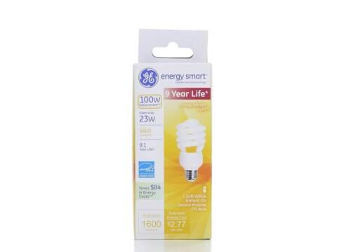 Soft White GE Lighting 23 Watts 1600 Lumen Energy Smart Spiral CFL Bulb