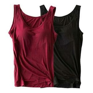 Womens Modal Built-in Bra Padded Camisole Yoga Tanks Tops, Black, Size 10.0 84fH