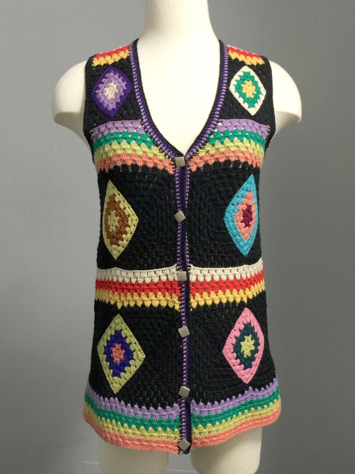 Vintage 70s Wool Handknit Crochet Black Multicolo… - image 1