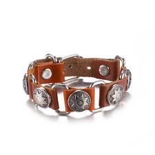 T::A Damen Armband Kunstleder hellbraun mit runden Stern Nieten silber FA003-A