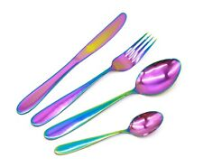 Stainless Steel Cutlery Sets 16/24/32piece Gold,Rainbow Iridescent Flatware Set