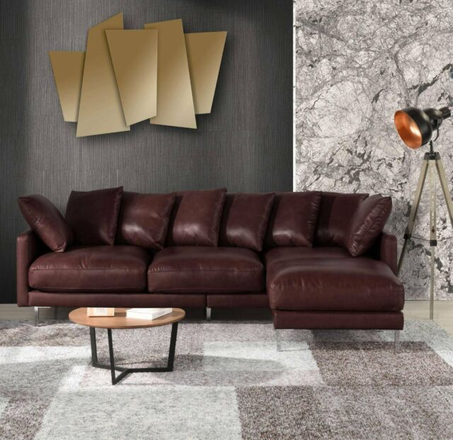 Modern Home Leather Match Sectional Sofa Chaise Ottoman Couch, Dark Brown