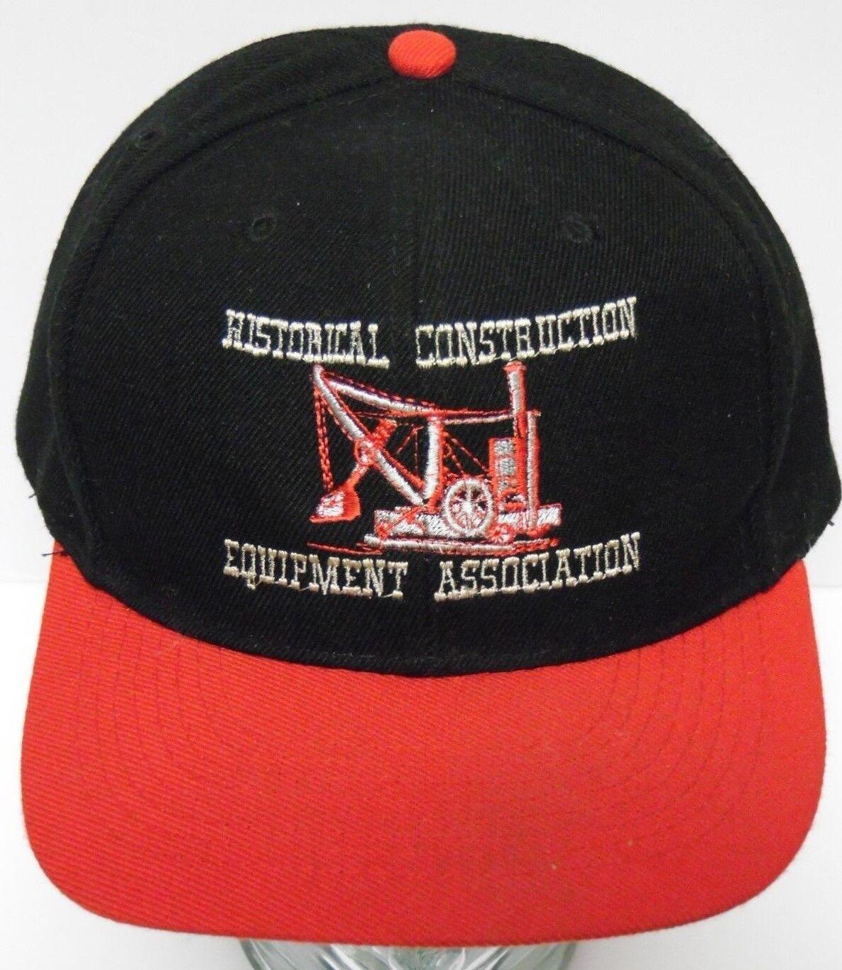 Vtg 1990s HISTORICAL CONSTRUCTION Black EQUIPMENT SNAPBACK ADVERTISING Red Black CONSTRUCTION HAT fa2ece