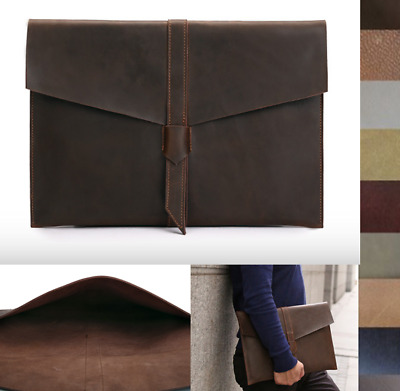 file cover pocket cow Leather Messenger bag Briefcase laptop Pouch handmade A621