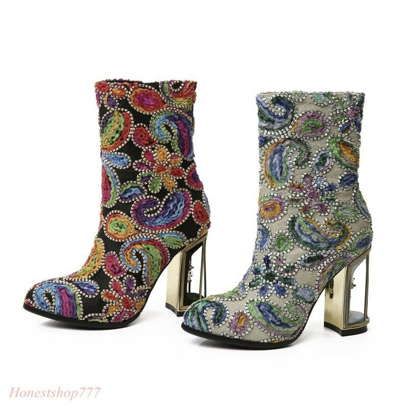 Fashion Womens Embroidery Floral Multi Color Cage Chunky Heel Ankle Boots New Sz