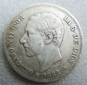 Monnaie-d-039-Espagne-2-pesetas-Alfonso-XII-1882