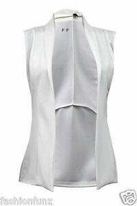 Womens Ladies Open Waist Coat Sleeveless Four Button Tuxedo Blazer Jacket Top