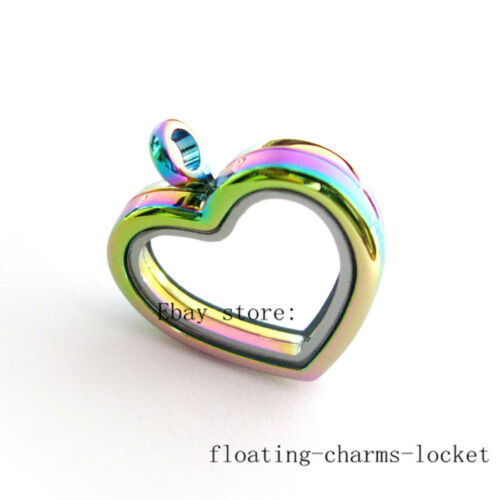 Copy Stainless Steel/&Rainbow Color Floating Charms Glass Locket Free Shipping
