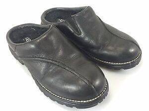 cb79dd2c153 UGGS Classic Womens 7 Black Leather Clogs Shoes 5348 5.5 UK 38 EU   eBay