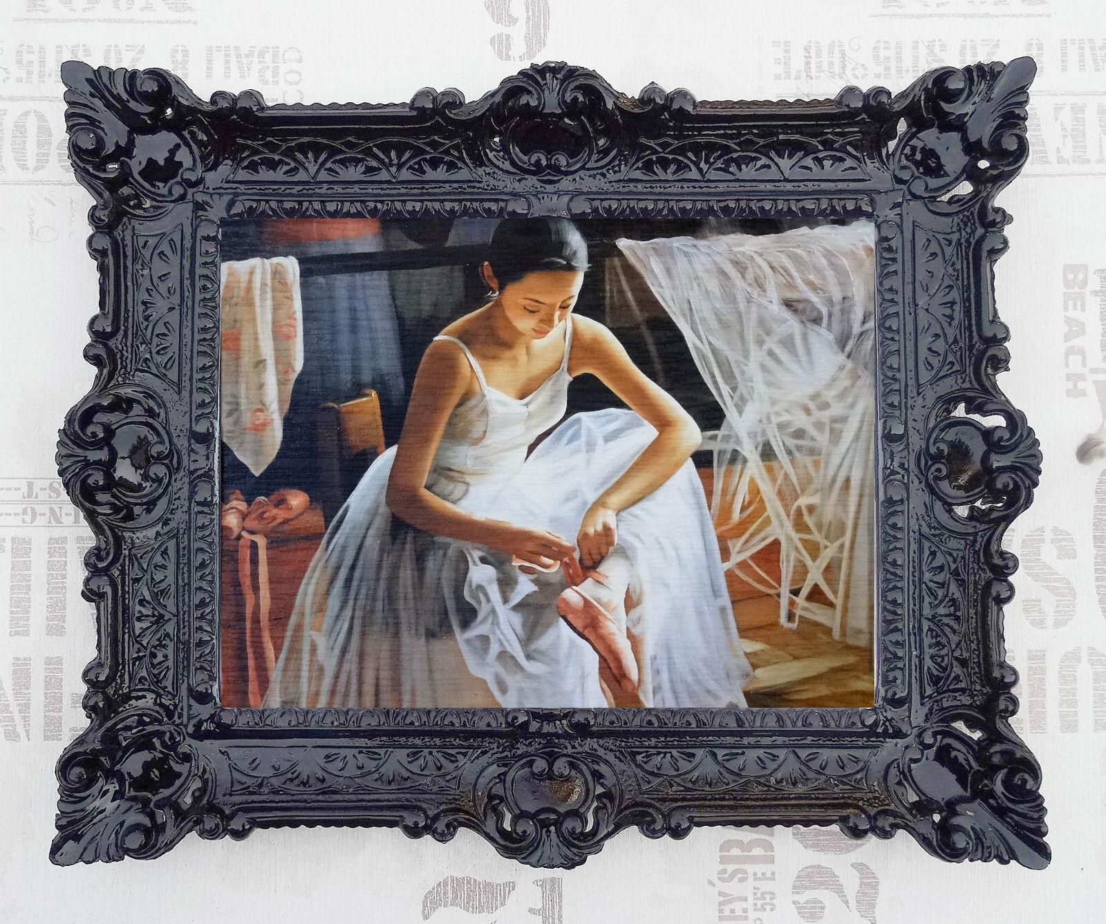 Gemälde Bilder Barock Antik Repro Ballerina Ballett Kunstwerke 56x46 cm in Gold