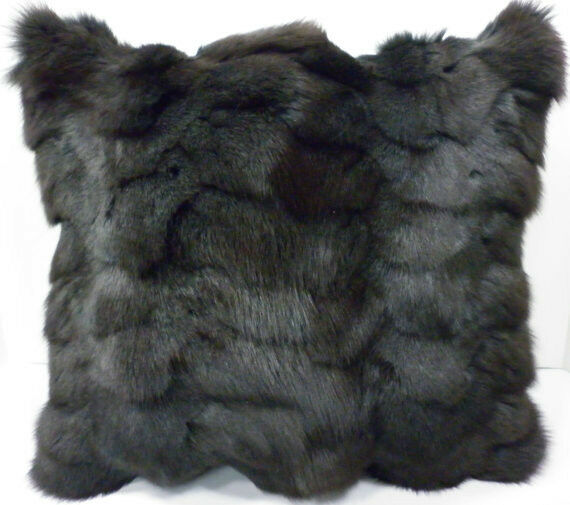 Real genuine dyed Gray Fox Sections Fur Pillow New  made in usa grey fur cushion