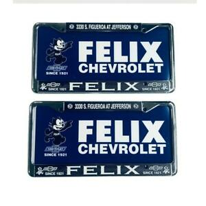 CHROME PRETTY IN PINK- INSERTS License Plate Set Felix Chevrolet- Plastic
