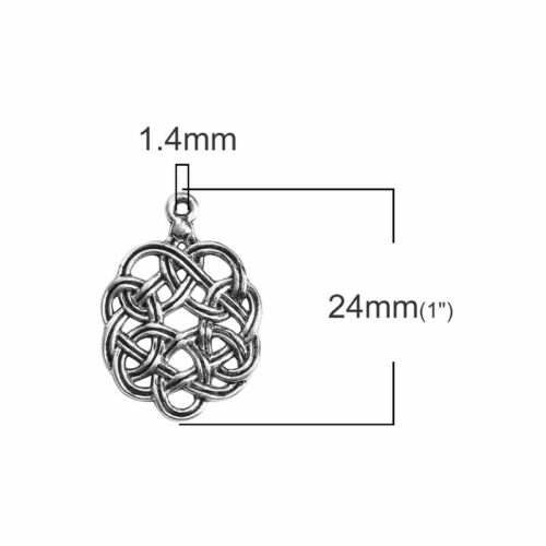 20 Or 50PCs Celtic Knots 24mm Antiqued Silver Plated Pendant Charms C7170-10