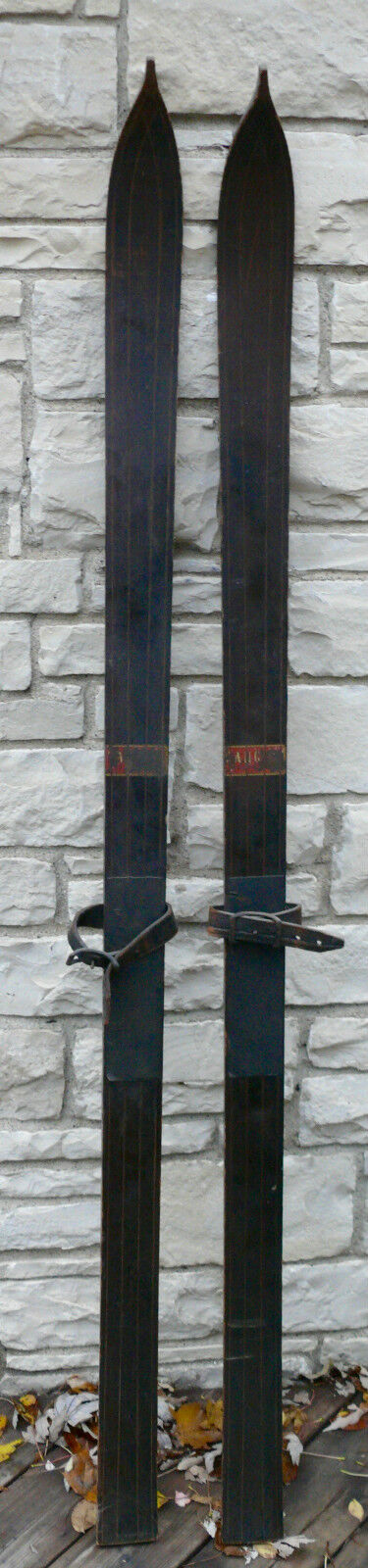ANTIQUE WOODEN SNO WINTER SNO WOODEN SKIS SKIING d63f96