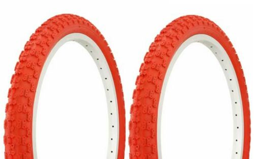 """Two 2 Tires 20 x 2.125/"""" BMX BIKE BICYCLE DURO TIREs Red//Red Side Wall 35PSI"""