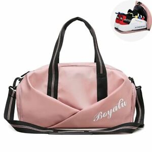 Color : B Handbag Yoga Sports Bag Dry and Wet Separate Swimming Bag with Shoes Bag Short-Distance Travel Bag Sports Fitness Bag Red Wine, Black