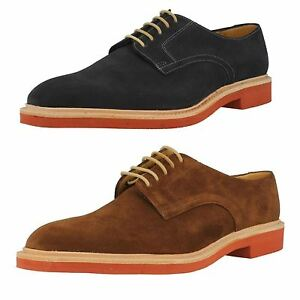 Navy Suede Leather Plain Lace Up Shoes
