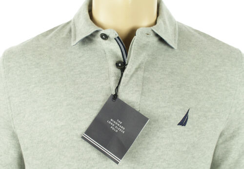 NEW MENS NAUTICA WINDWARD LONG SLEEVE GREY CLASSIC FIT FRENCH RIB POLO XXL $79