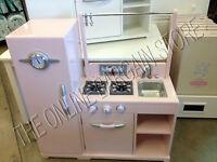 Pottery Barn Kids Pink All In One Retro Play Pretend Kitchen Set Stove Fridge