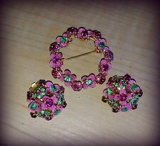 Vintage 1967 Christian Dior Rare Brooch and Earrings Set Germany Pin and Green