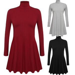 Women-Ladies-Long-Sleeve-Casual-Mini-Dress-Loose-Tops-Blouse-T-Shirt-Plus-Size