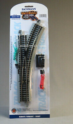 HO REMOTE RIGHT HAND SWITCH nickel silver roadbed  NEW SYLE BACHMANN E-Z TRACK
