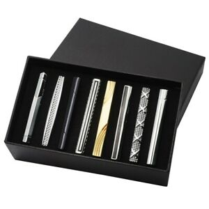 8pcs-Men-Steel-Silver-Gold-Solid-Black-Ties-Necktie-Clasp-Pin-Clip-Bar-Set-Gift