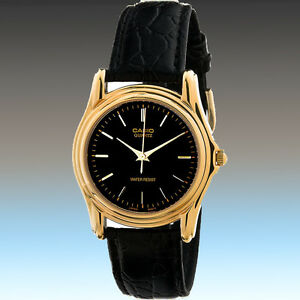 Casio-MTP-1096Q-1A-Men-039-s-Analog-Watch-Black-Leather-Band-Gold-Classic-Brand-New