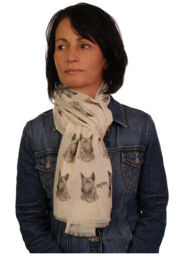 scarf with Bull Terrier dog on womens fashion printed shawl wrap mike sibley