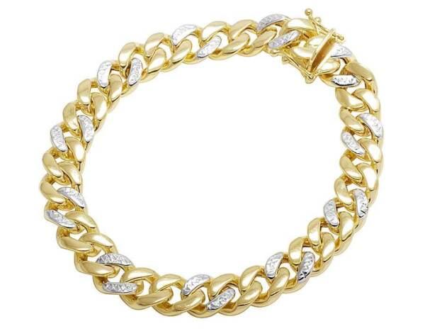 10k Gelbgold Diamant Schnitt Miami Kubanische Box Armband 9mm 8-9 Ins