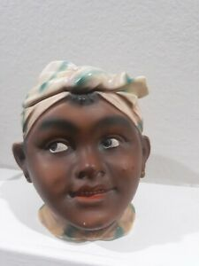 Vtg-Black-Americana-Aunt-Figural-Head-Tobacco-Jar-Humidor-Old-Antique-Lady