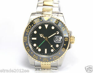023G PARNIS TWO TONE GMT 24 CLICKS CERAMIC BEZEL SUBMARINER AUTOMATIC WATCH