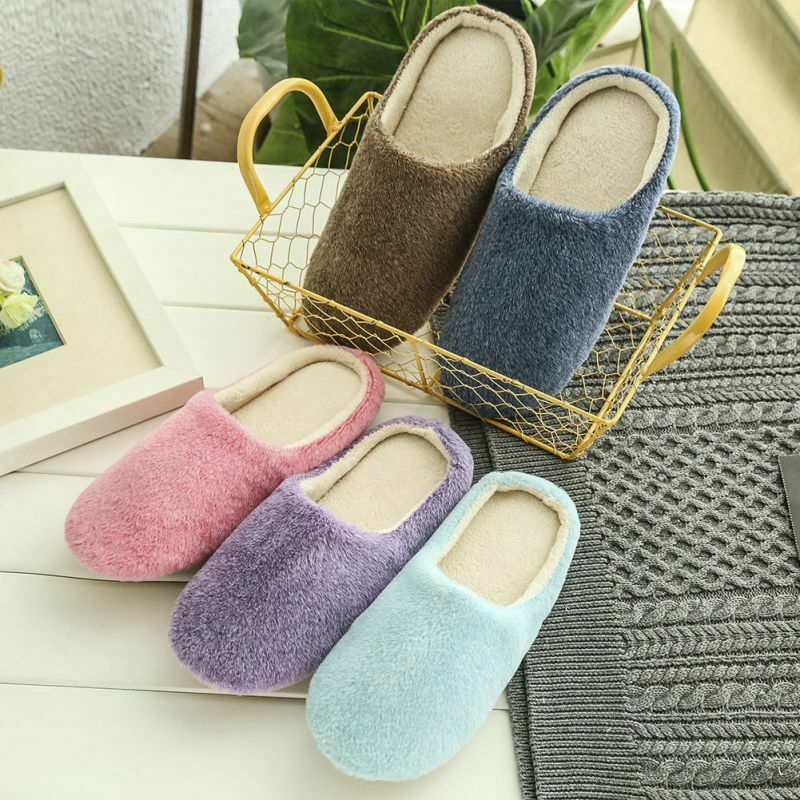 Mynse Non-Slip and Velvet Foam Shoes House Shoes for Men and Women Warm Cotton Slippers in Winter