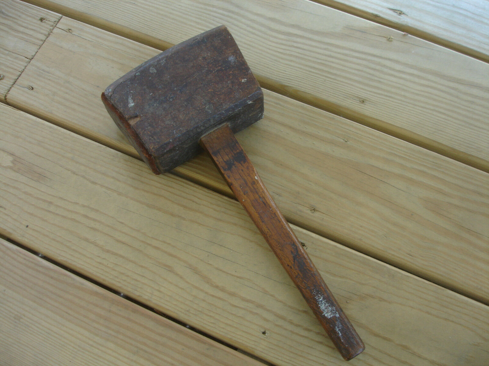 Old Vtg Antique Primitive Wooden Wood Hammer Mallet Leather Wrap