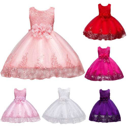 Mädchen Kinder Sommer Kleider Formal Partykleid Blumenmädchen Hochzeit Festkleid
