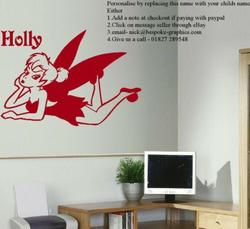LARGE PERSONALISED TINKERBELL CHILDRENS BEDROOM WALL ART STICKER TRANSFER DECAL