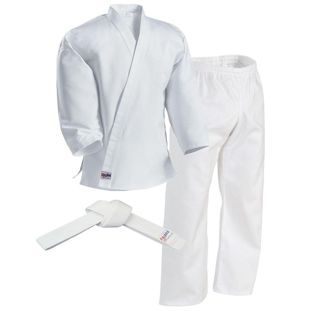 Kid KARATE Gi White Uniform, Taekwondo, size 0 (130cm) with white belt