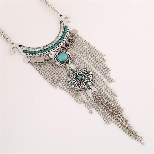 Retro Bohemian Gypsy Style Turquoise Tassel  Chain Choker Pendant Necklace RR