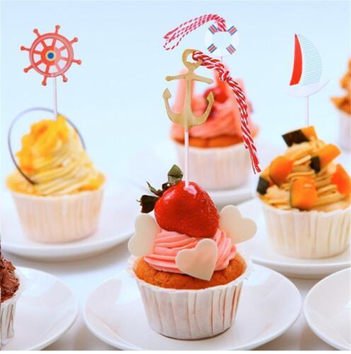 24Pieces Nautical Sailor Cupcake per Food Fruit Picks-for/_Decoration.A