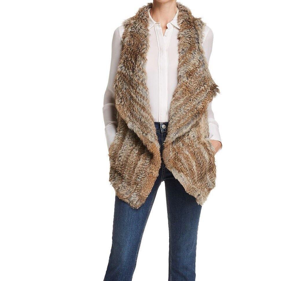 Best Valentine's Gift- C by Bloomingdale's Cashmere Vest w Rabbit Fur S NWT