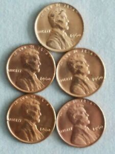 FIVE-5-1960-P-SMALL-DATE-UNCIRCULATED-LINCOLN-CENT-VARIETY-SET
