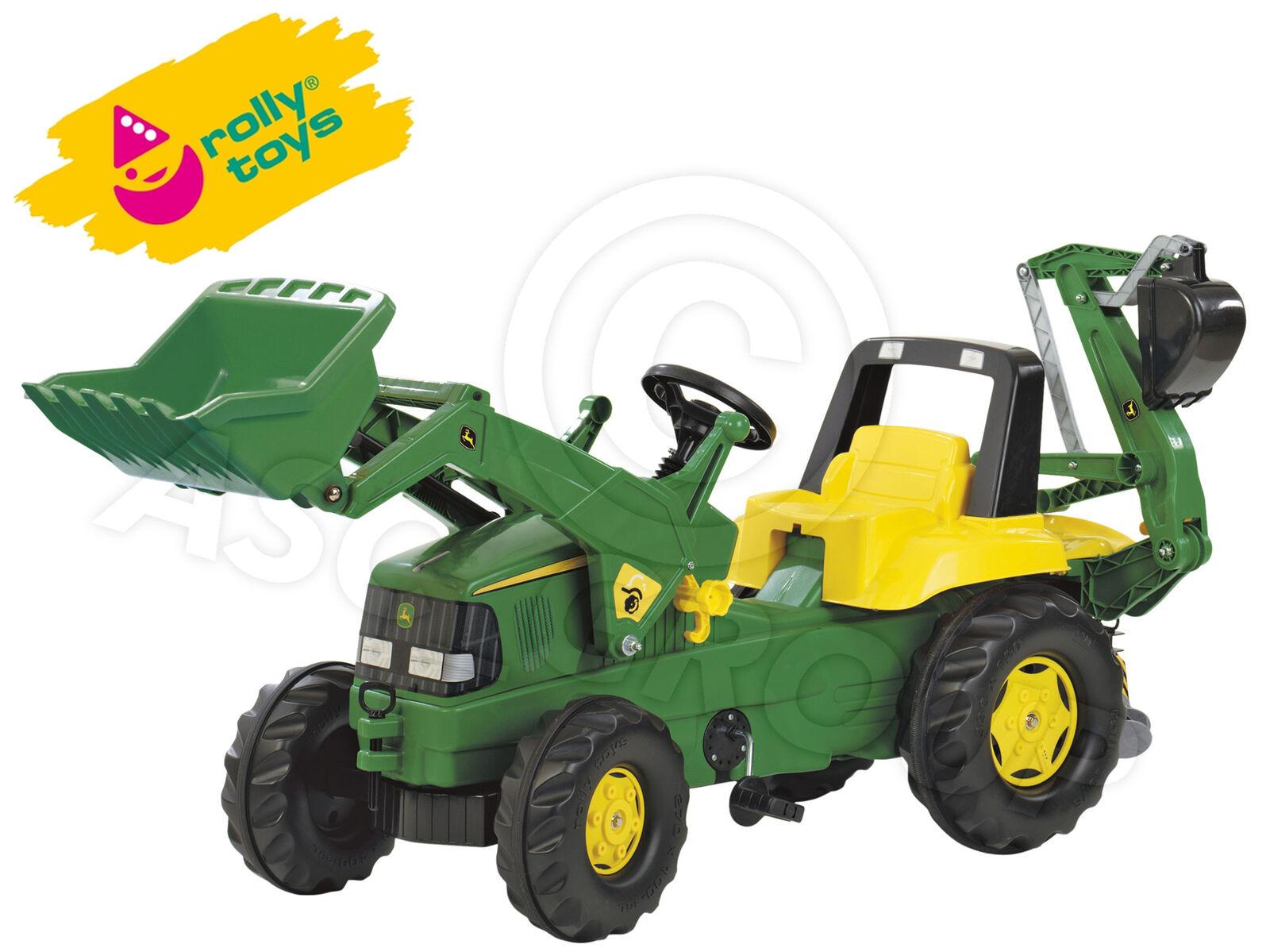 Rolly Junior John Deere Tractor de Pedales con Frontal Loader y Retroexcavadora