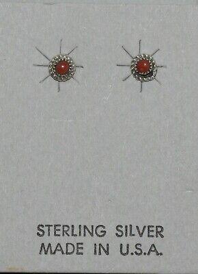 ERLINE JAMES ZUNI TURQUOISE//STERLING STUD EARRINGS SUPERB ZUNI PUEBLO