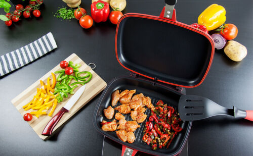 Details about  Die-Cast Double MAGIC Grill Pan 32cm Double Sided Frying Flippin