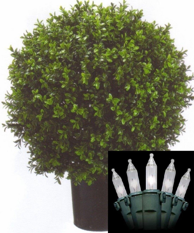 24  Artificial Outdoor UV Boxwood Bush Ball Topiary Christmas Tree & Lights 2'