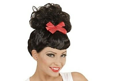 Rockabilly Ladies Black Wig 50s 60s Pin Up Wartime Housewife Red Bow Fancy Dress