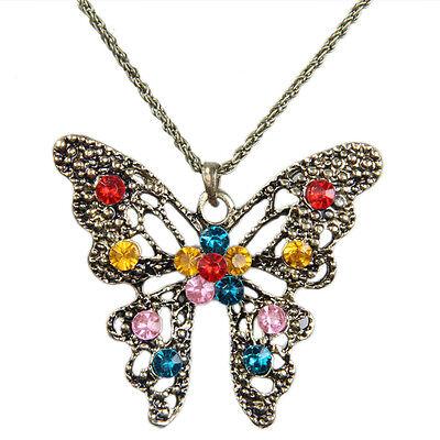 Women's Fashion Retro Rhinestones Butterfly Pendant Long Chain Sweater Necklace