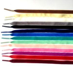 1cm-Breit-Schnuersenkel-Samt-Flachsenkel-Flach-Ribbon-Senkel-Schuhbaender-120cm
