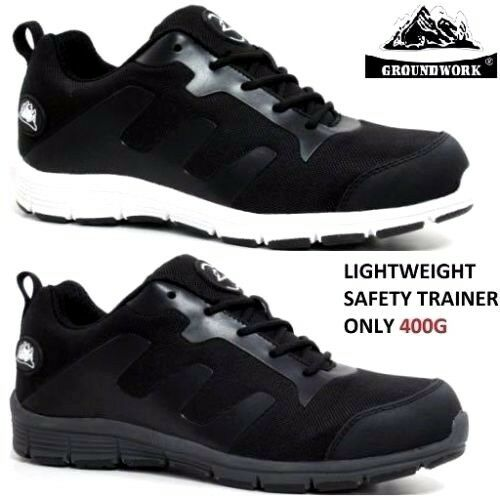 MENS ULTRA LIGHTWEIGHT WORK STEEL TOE CAP SAFETY BLACK SHOES TRAINER BOOTS SIZES
